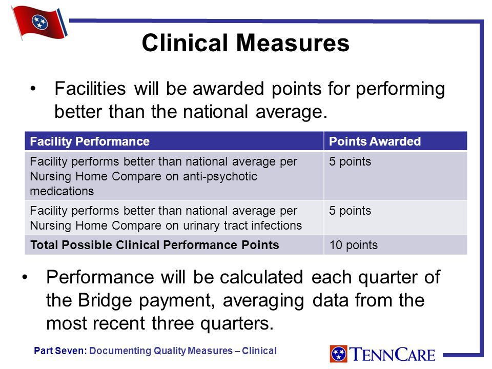 Clinical Measures Facility PerformancePoints Awarded Facility performs better than national average per Nursing Home Compare on anti-psychotic medications 5 points Facility performs better than national average per Nursing Home Compare on urinary tract infections 5 points Total Possible Clinical Performance Points10 points Performance will be calculated each quarter of the Bridge payment, averaging data from the most recent three quarters.