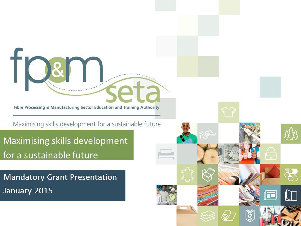 Maximising skills development for a sustainable future Mandatory Grant Presentation January 2015