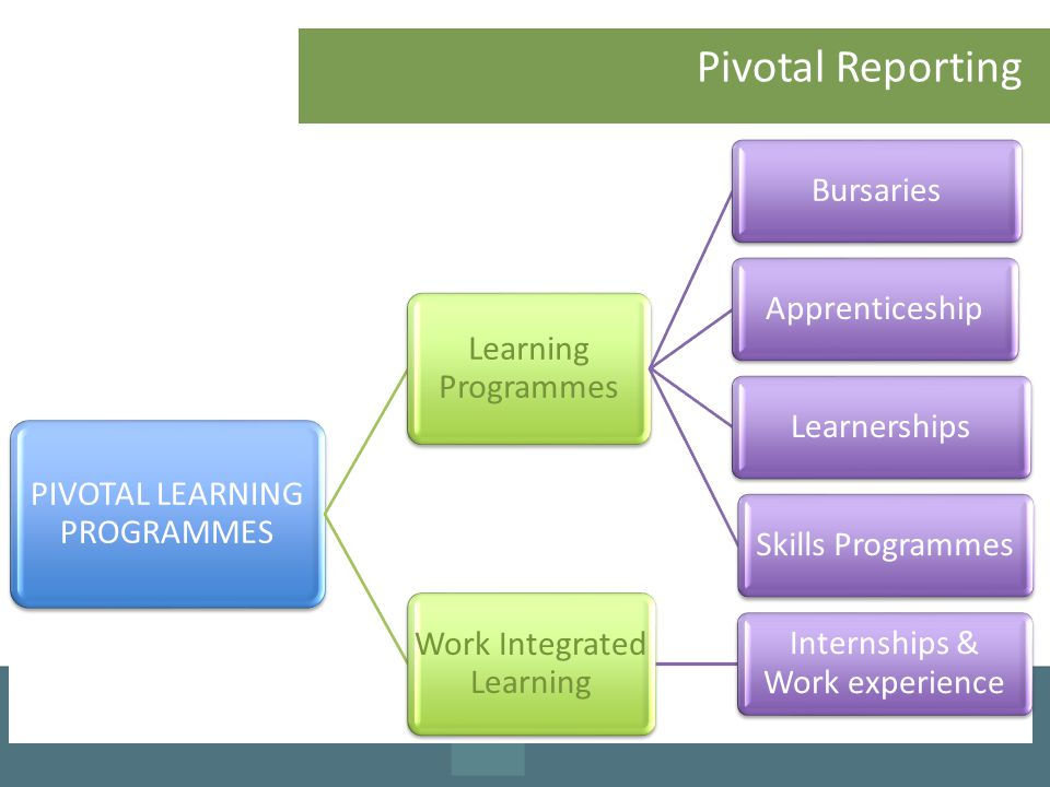 Pivotal Reporting PIVOTAL LEARNING PROGRAMMES Learning Programmes BursariesApprenticeshipLearnershipsSkills Programmes Work Integrated Learning Internships & Work experience
