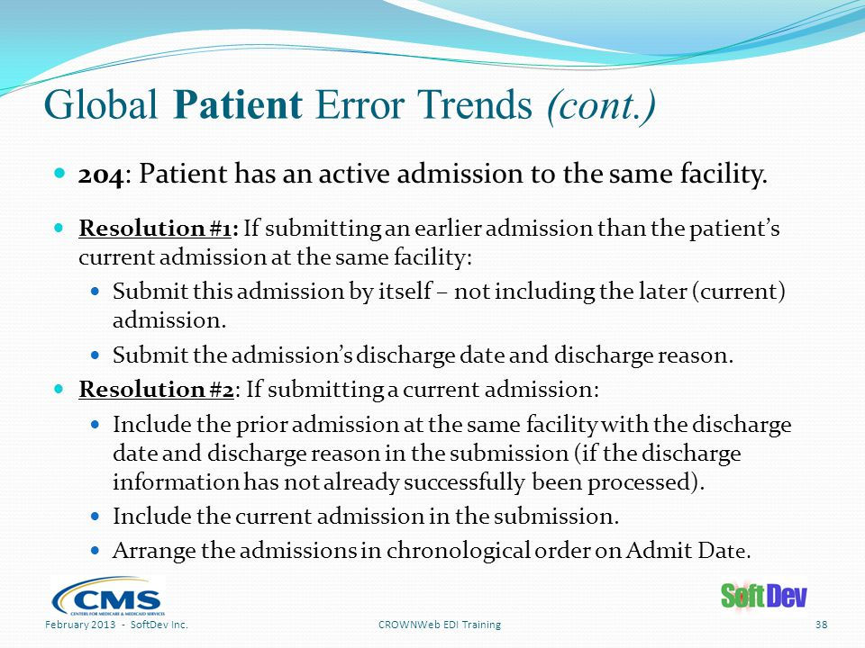 Global Patient Error Trends (cont.) CROWNWeb EDI Training 204: Patient has an active admission to the same facility.