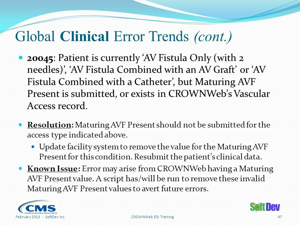Global Clinical Error Trends (cont.) 47CROWNWeb EDI Training 20045: Patient is currently 'AV Fistula Only (with 2 needles)', 'AV Fistula Combined with an AV Graft' or 'AV Fistula Combined with a Catheter', but Maturing AVF Present is submitted, or exists in CROWNWeb's Vascular Access record.