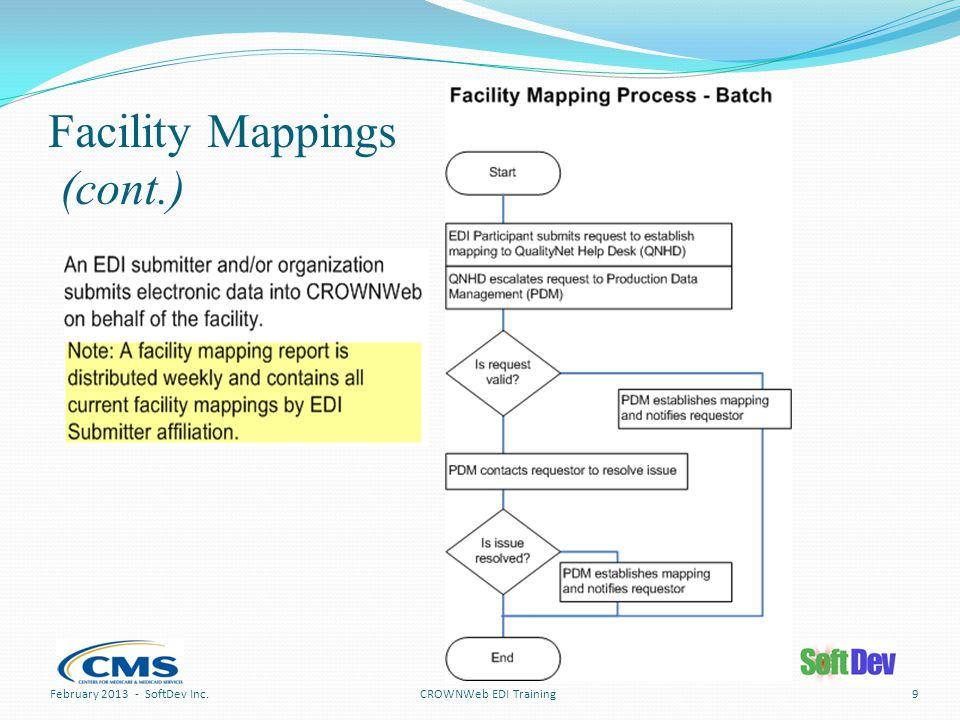 Facility Mappings (cont.) CROWNWeb EDI TrainingFebruary 2013 - SoftDev Inc.9