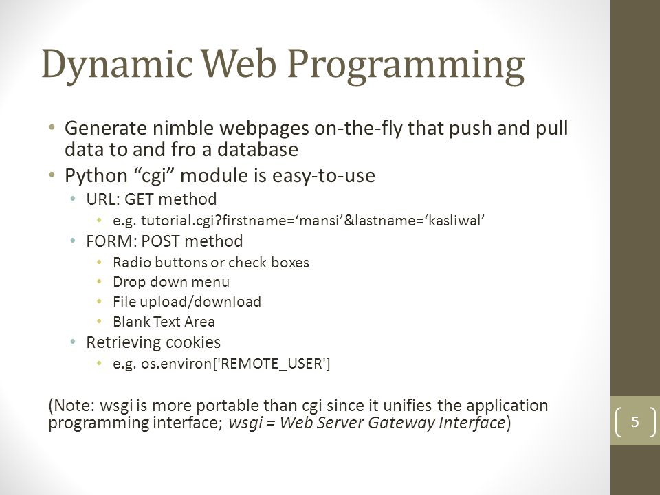 Dynamic Web Programming Generate nimble webpages on-the-fly that push and pull data to and fro a database Python cgi module is easy-to-use URL: GET method e.g.