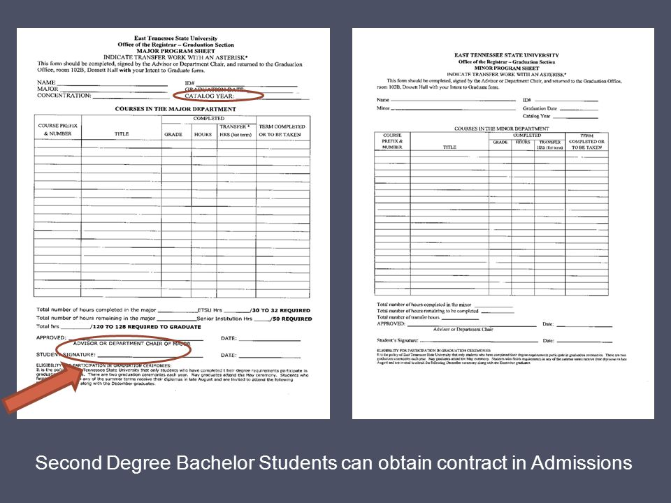 Second Degree Bachelor Students can obtain contract in Admissions