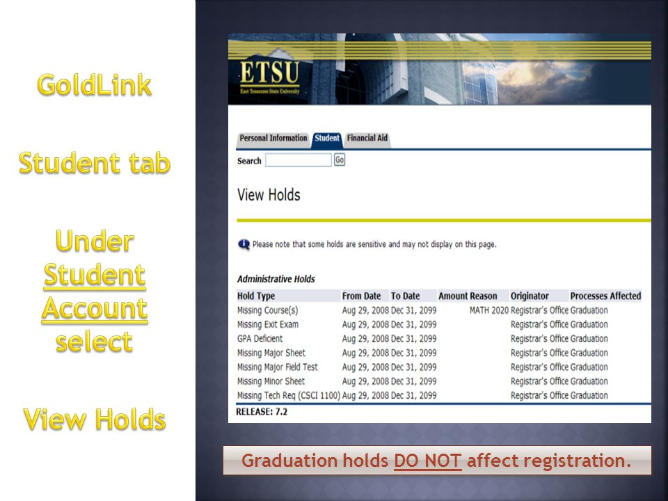 Graduation holds DO NOT affect registration.