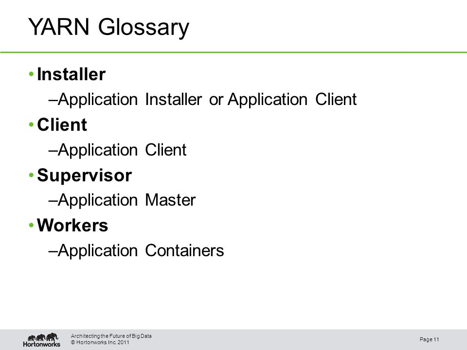 © Hortonworks Inc. 2011 YARN Glossary Page 11 Architecting the Future of Big Data Installer –Application Installer or Application Client Client –Appli