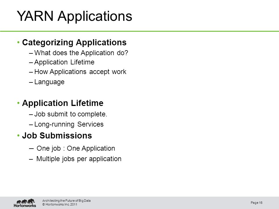 © Hortonworks Inc. 2011 YARN Applications Page 16 Architecting the Future of Big Data Categorizing Applications –What does the Application do? –Applic