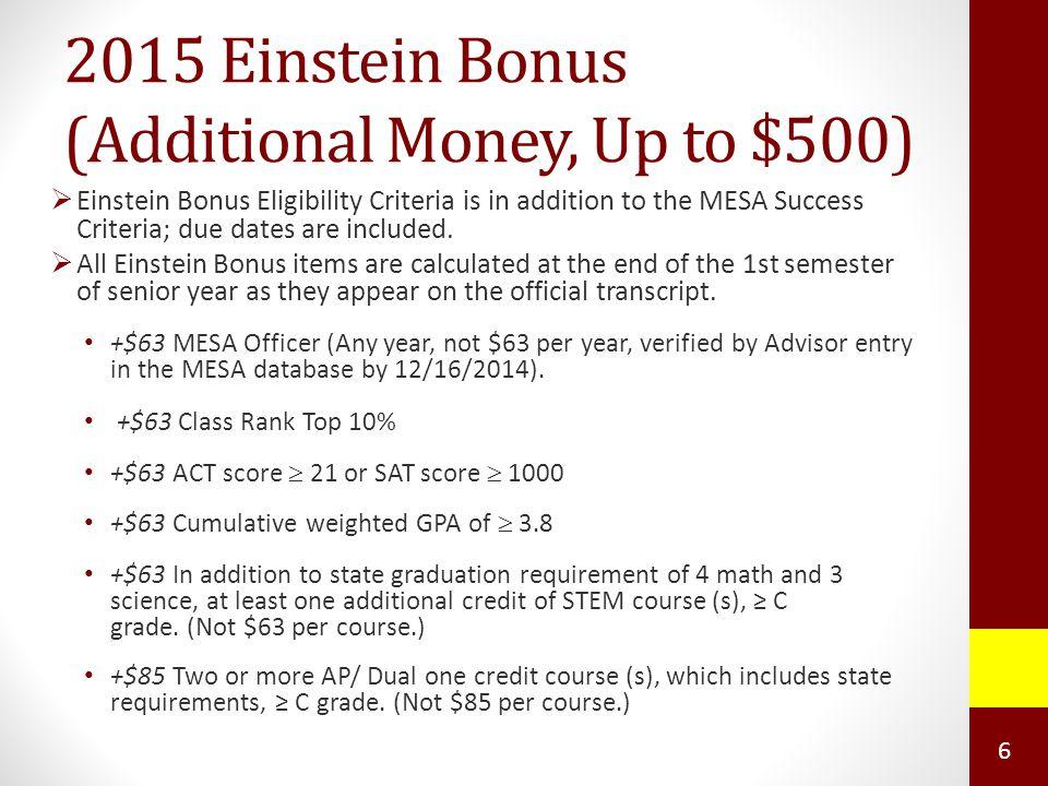 2015 Einstein Bonus (Additional Money, Up to $500)  Einstein Bonus Eligibility Criteria is in addition to the MESA Success Criteria; due dates are included.