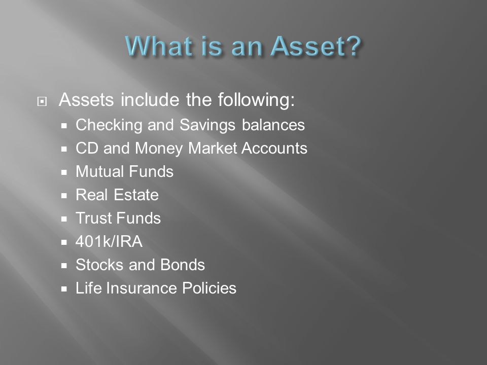  To determine the value of each asset calculate the cash value (i.e.