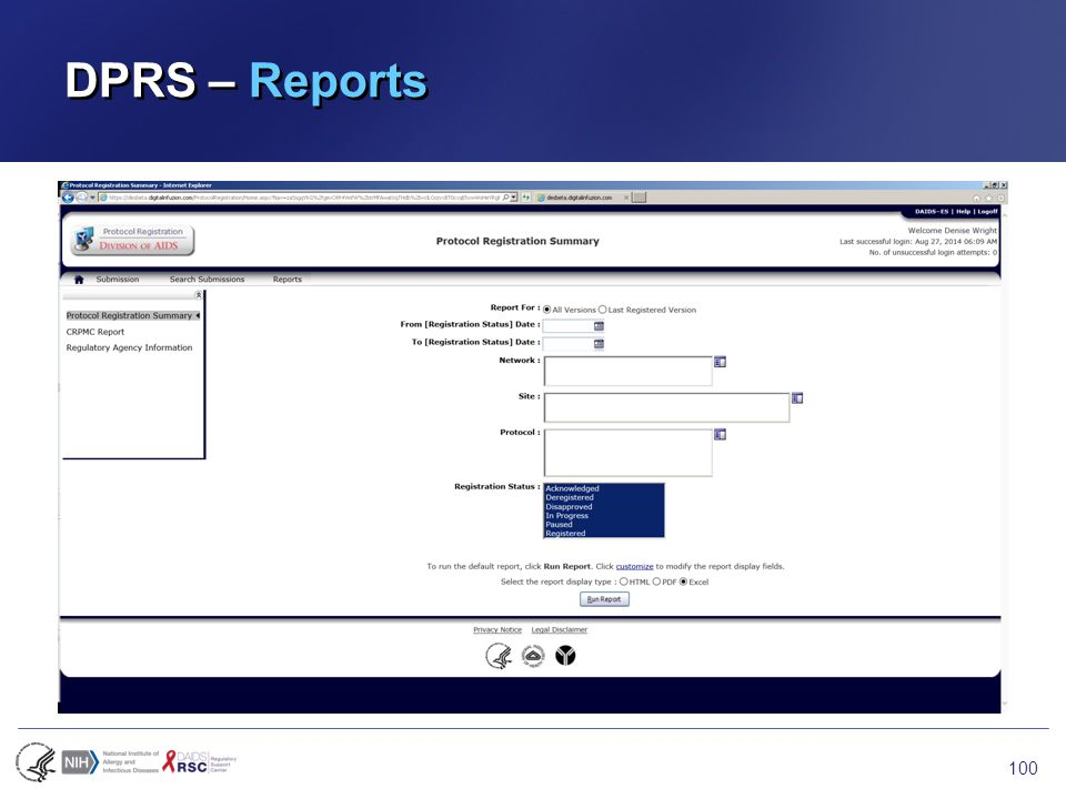 DPRS – Reports 100