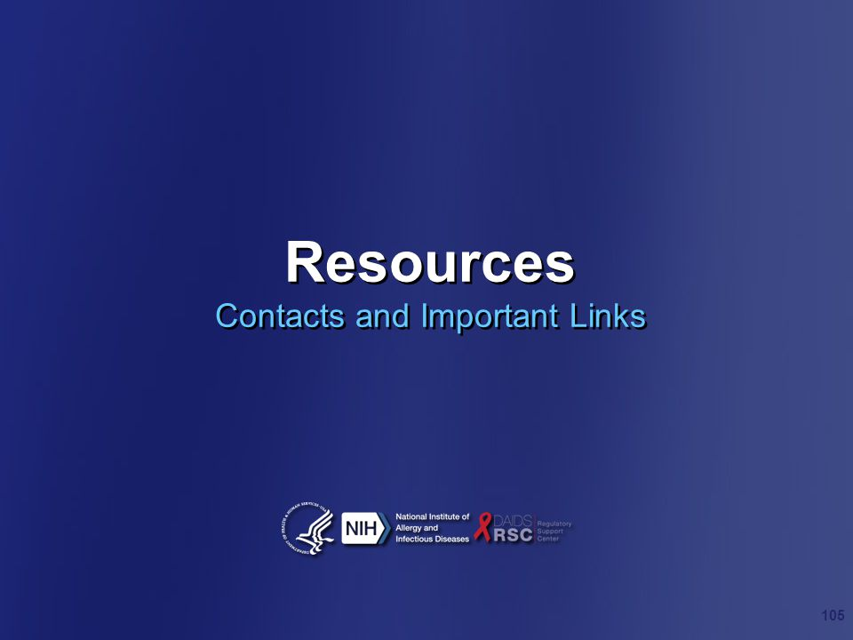 Resources Contacts and Important Links 105