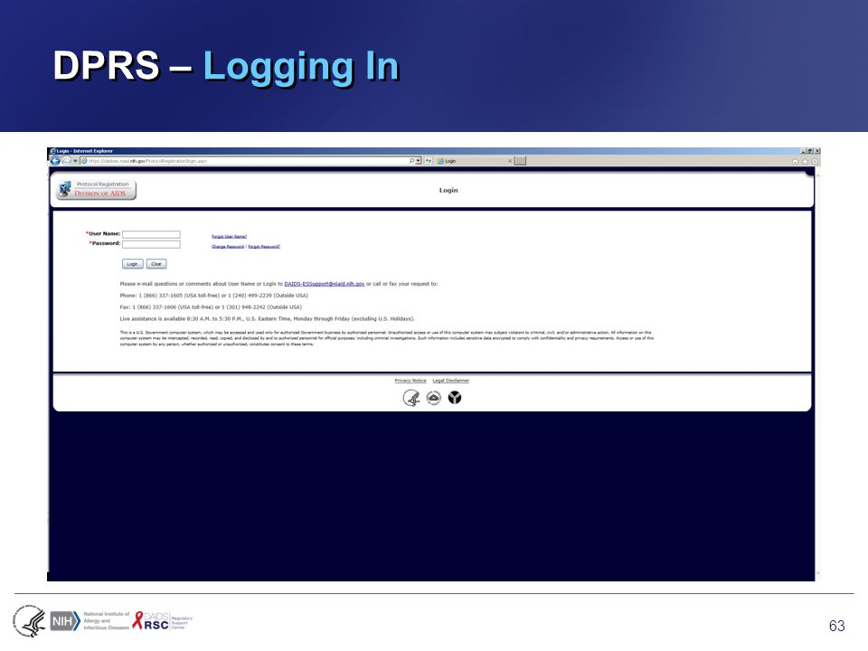 DPRS – Logging In 63