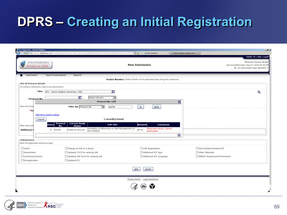 DPRS – Creating an Initial Registration 69