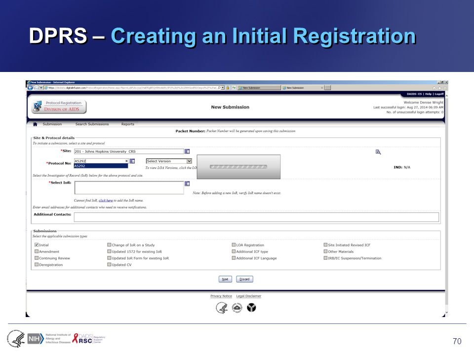 DPRS – Creating an Initial Registration 70