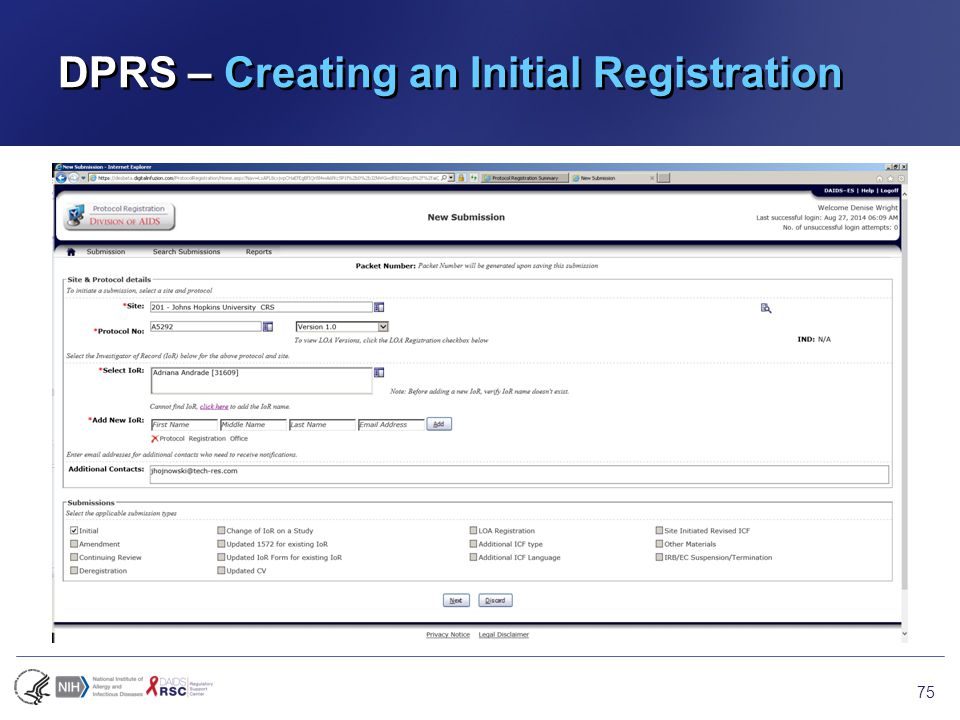 DPRS – Creating an Initial Registration 75
