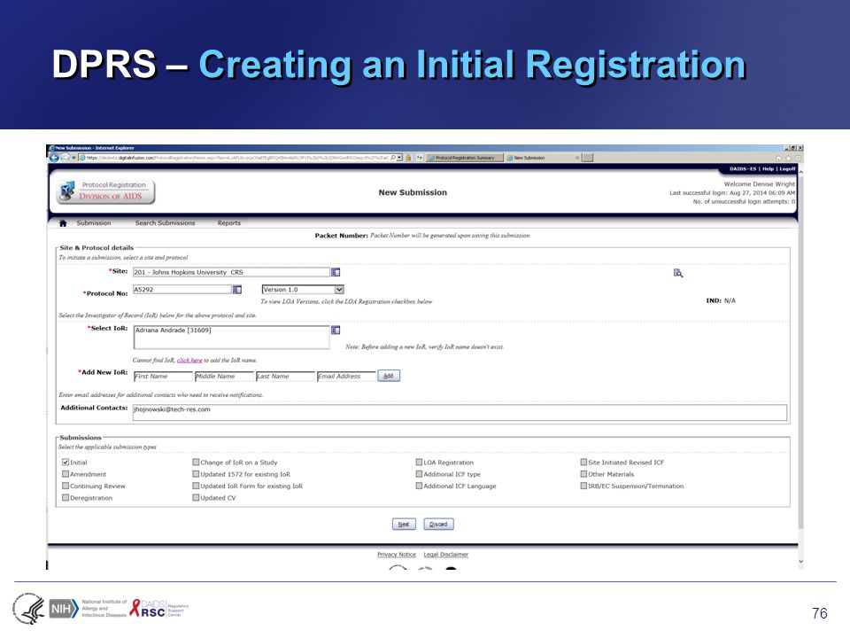 DPRS – Creating an Initial Registration 76