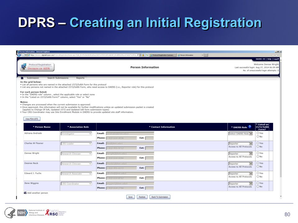 DPRS – Creating an Initial Registration 80