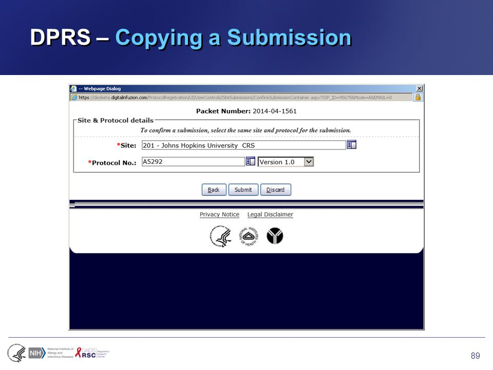 DPRS – Copying a Submission 89