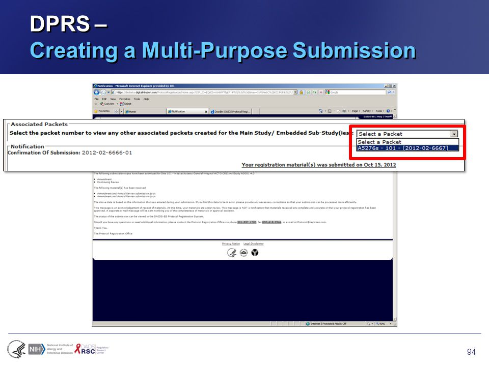 DPRS – Creating a Multi-Purpose Submission 94