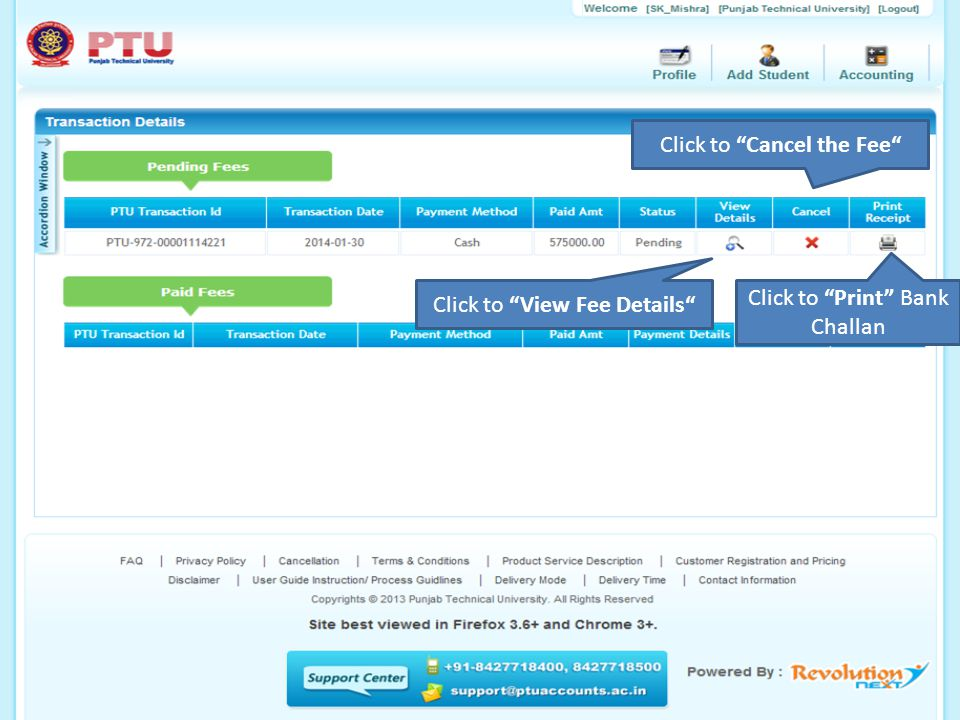 """Click to """"View Fee Details"""" Click to """"Cancel the Fee"""" Click to """"Print"""" Bank Challan"""