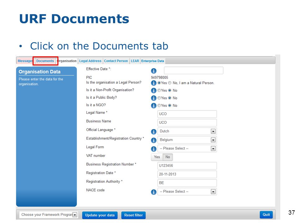URF Documents Click on the Documents tab 37