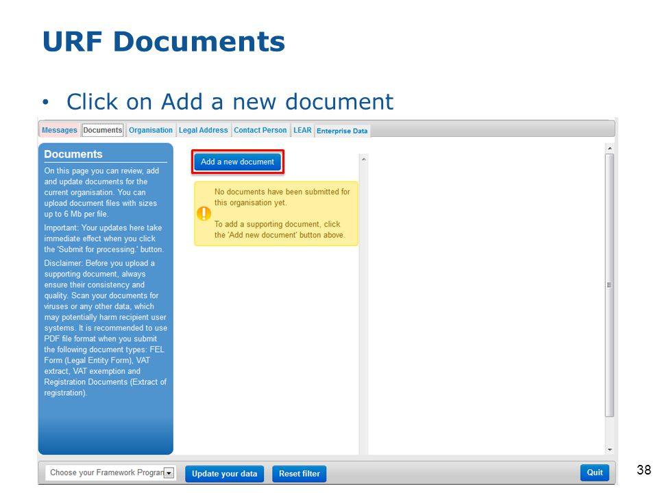 URF Documents Click on Add a new document 38