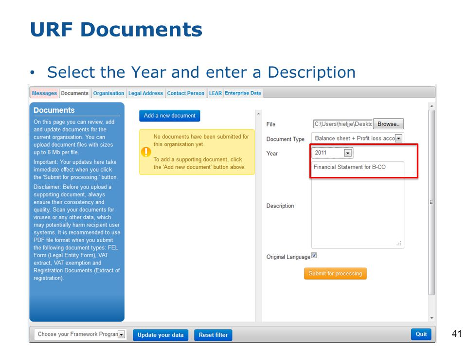 URF Documents Select the Year and enter a Description 41