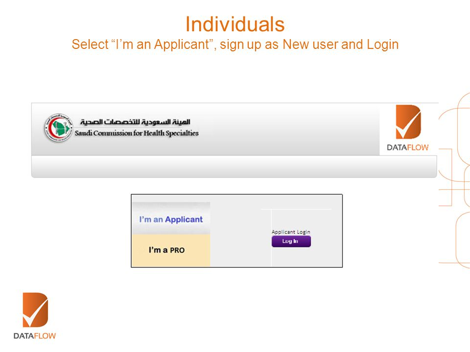 """Select """"I'm an Applicant"""", sign up as New user and Login"""
