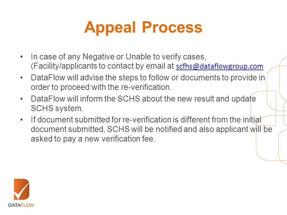 Appeal Process In case of any Negative or Unable to verify cases, (Facility/applicants to contact by email at scfhs@dataflowgroup.com scfhs@dataflowgr
