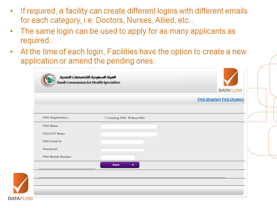 If required, a facility can create different logins with different emails for each category, i.e: Doctors, Nurses, Allied, etc.. The same login can be