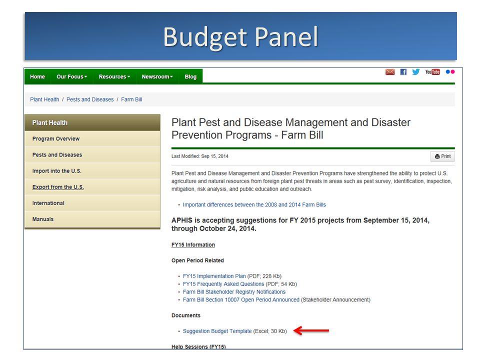 slide 22 Budget Panel