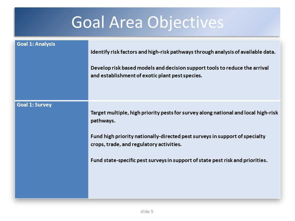 slide 5 Goal Area Objectives