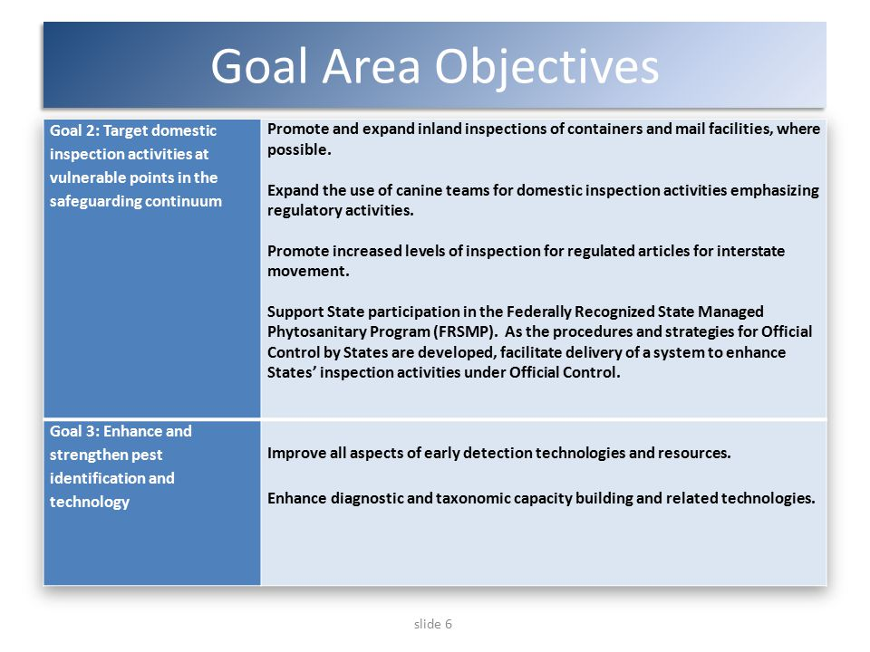 slide 6 Goal Area Objectives