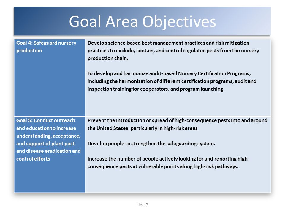 slide 7 Goal Area Objectives