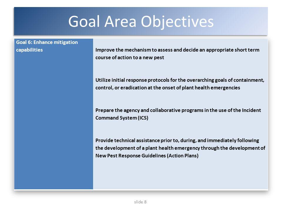 slide 8 Goal Area Objectives