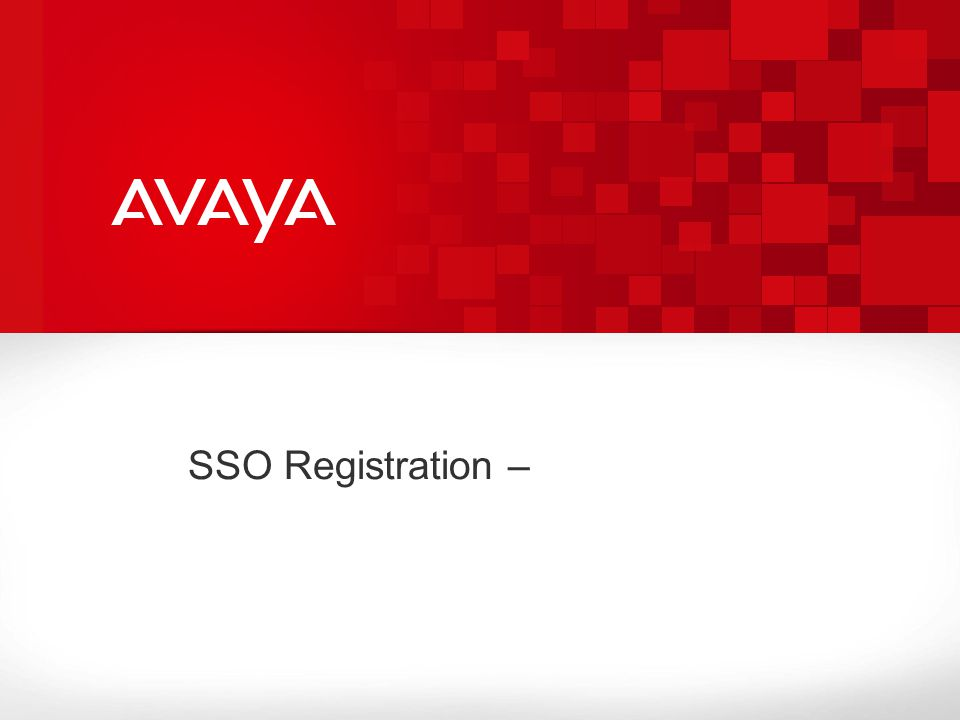 SSO Registration –