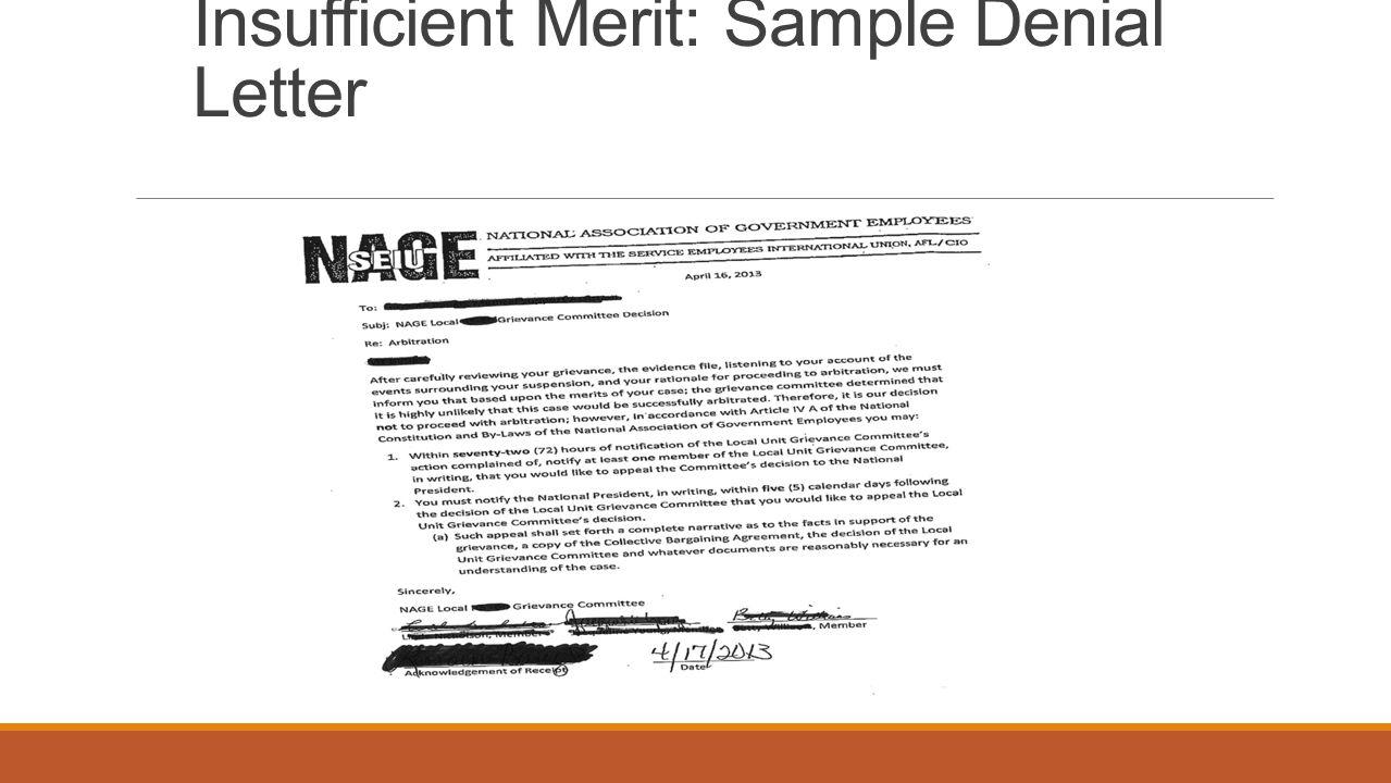 Insufficient Merit: Sample Denial Letter
