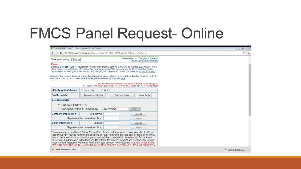 FMCS Panel Request- Online