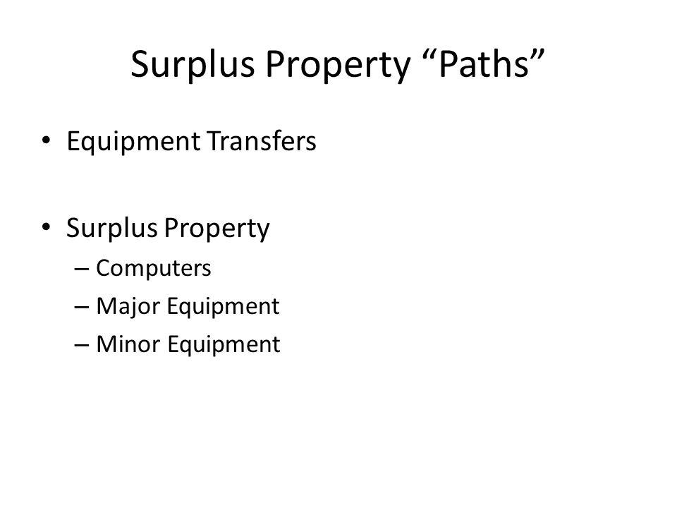 "Surplus Property ""Paths"" Equipment Transfers Surplus Property – Computers – Major Equipment – Minor Equipment"