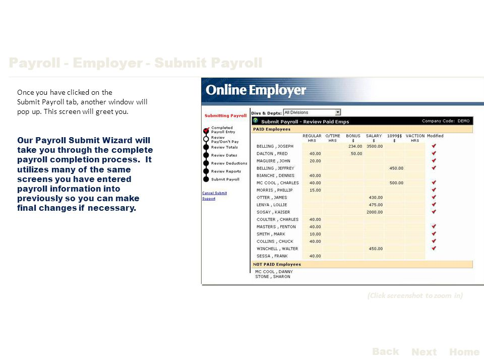 Payroll - Employer - Submit Payroll Once you have clicked on the Submit Payroll tab, another window will pop up.