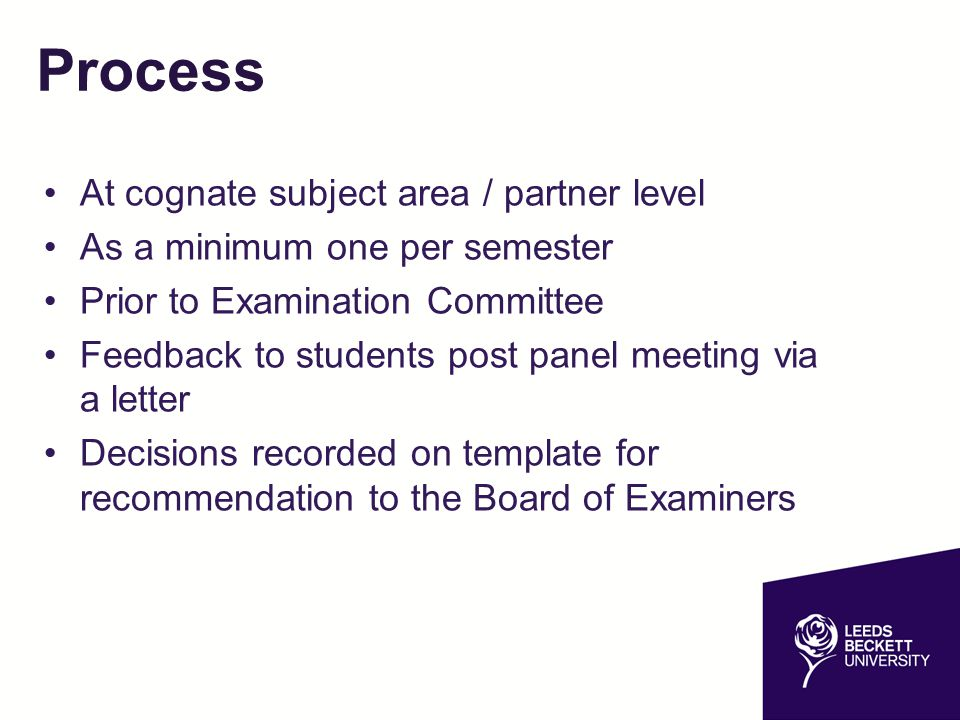 Process At cognate subject area / partner level As a minimum one per semester Prior to Examination Committee Feedback to students post panel meeting v
