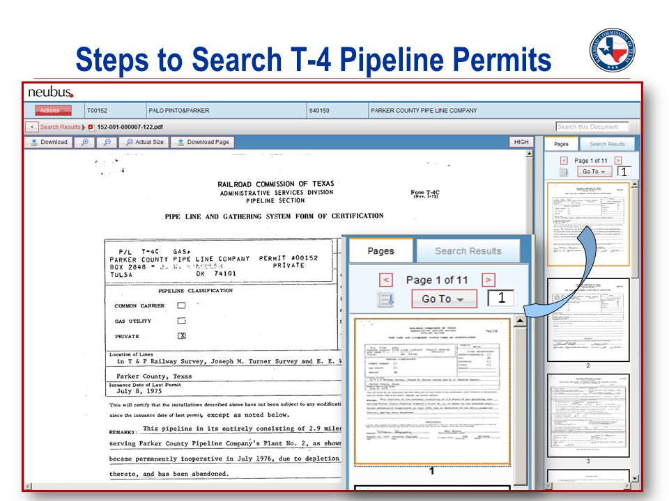 Steps to Search T-4 Pipeline Permits 1 1