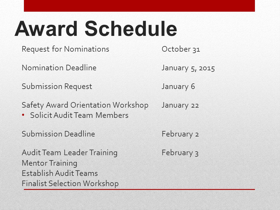 2015 Safety Award Initial Evaluation Form The new form was reduced from 4 pages to 2 pages.