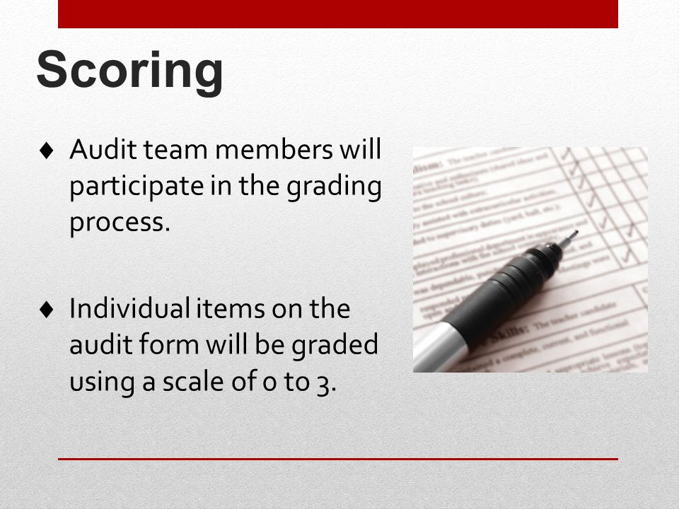 Scoring  Audit team members will participate in the grading process.