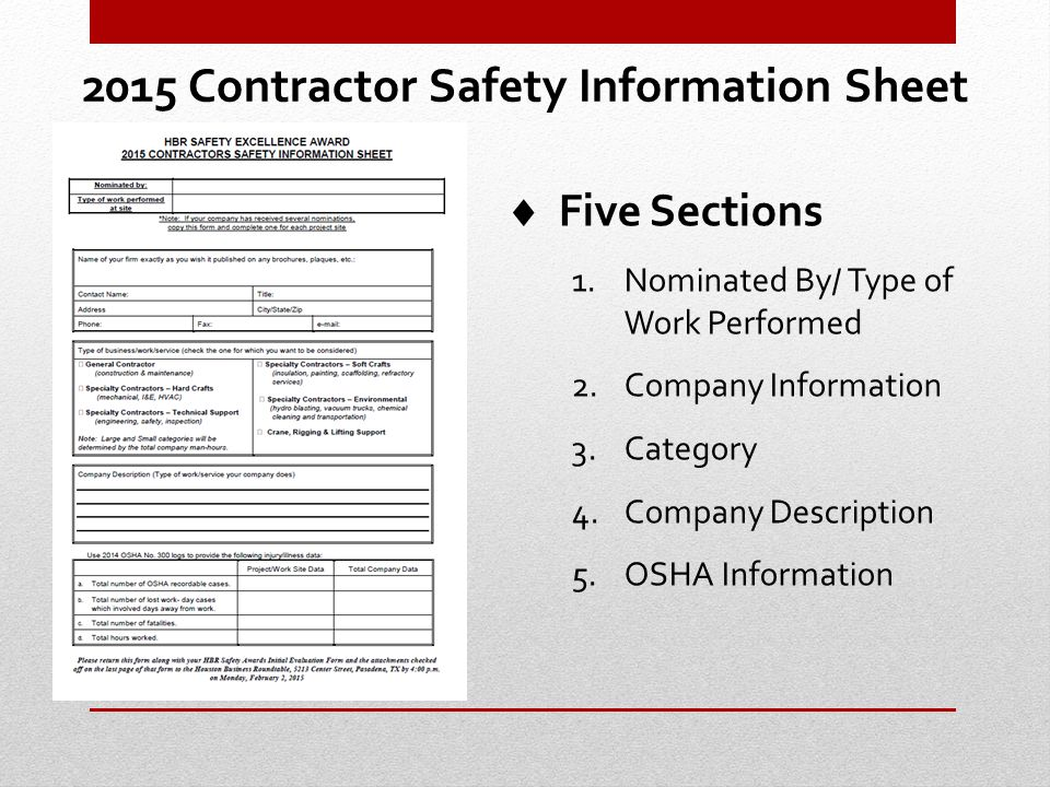 Section 3 – OSHA TRR Score up to 150 Points