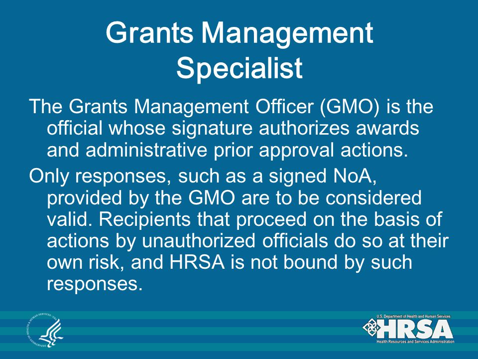 Payment Management System (PMS) Representative Once a NoA is processed, the recipient is assigned to a PMS Account Representative, which is responsible for: Managing the recipient's account in the PMS Registration of Personal Identification Number (PIN) Managing the cash flow by reviewing, approving and monitoring draw-down of funds Review and approval of the Federal Financial Report (FFR) submitted to the PMS Account reconciliation for closeout.