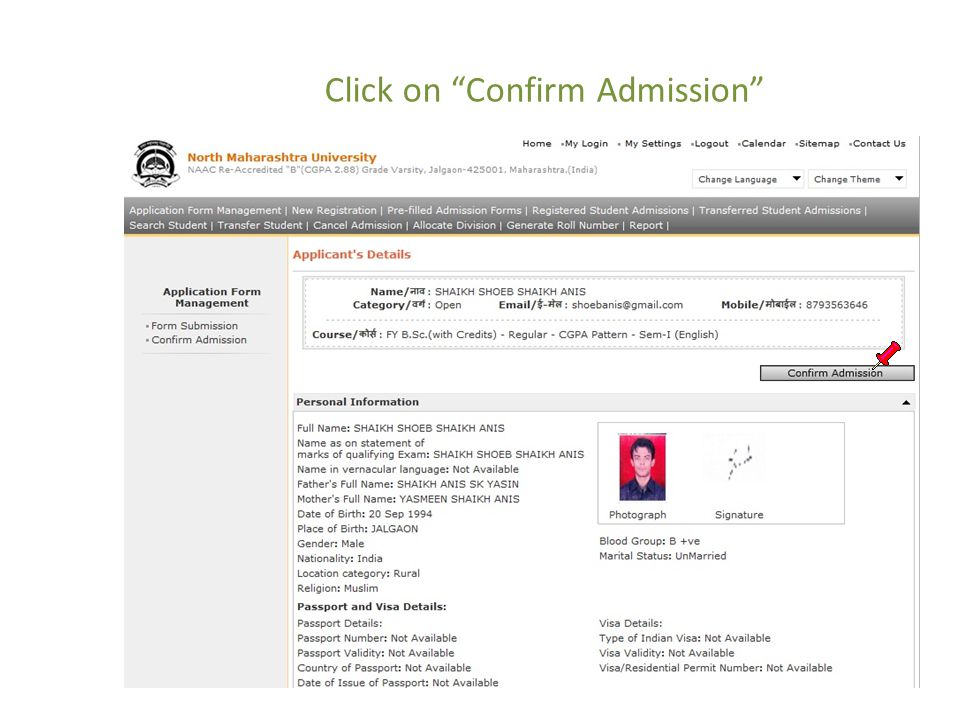 "Click on ""Confirm Admission"""