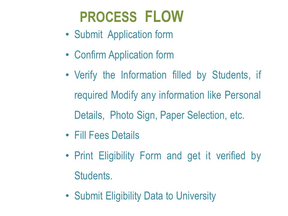 PROCESS FLOW Submit Application form Confirm Application form Verify the Information filled by Students, if required Modify any information like Perso