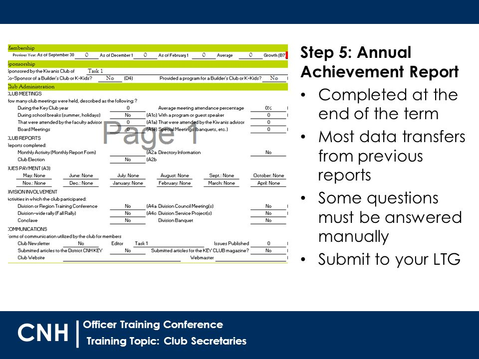 Training Topic: Club Secretaries | Officer Training Conference CNH Step 5: Annual Achievement Report Completed at the end of the term Most data transfers from previous reports Some questions must be answered manually Submit to your LTG