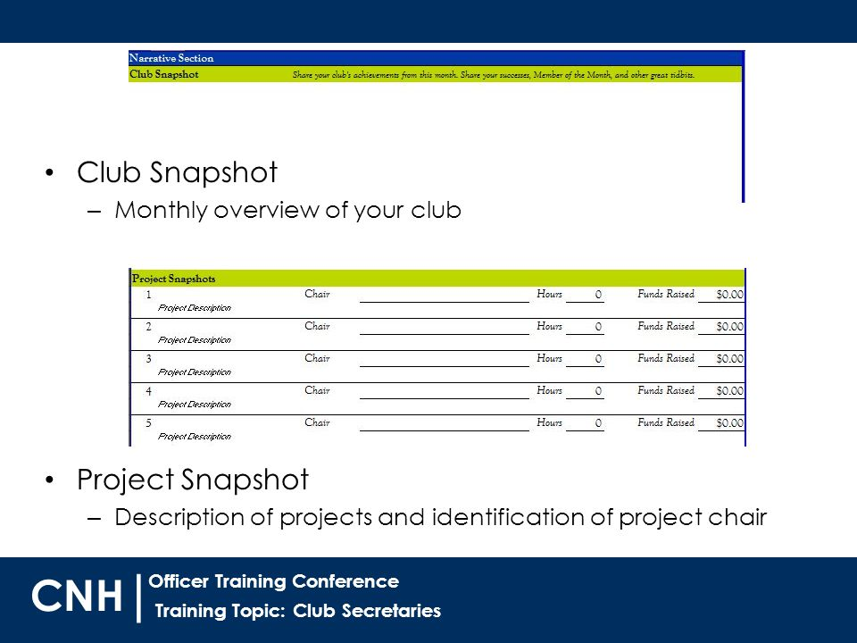 Training Topic: Club Secretaries | Officer Training Conference CNH Project Snapshot – Description of projects and identification of project chair Club Snapshot – Monthly overview of your club